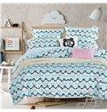 Adorable Penguin Pattern Kids Cotton 4-Piece Duvet Cover Sets