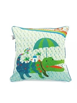 Cult Green Crocodile Paint Throw Pillow