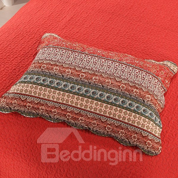 Bohemian Style Red Stripes Cotton 3-Piece Bed in a Bag
