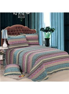Bohemian Style Stripes Design Cotton 3-Piece Bed in a Bag