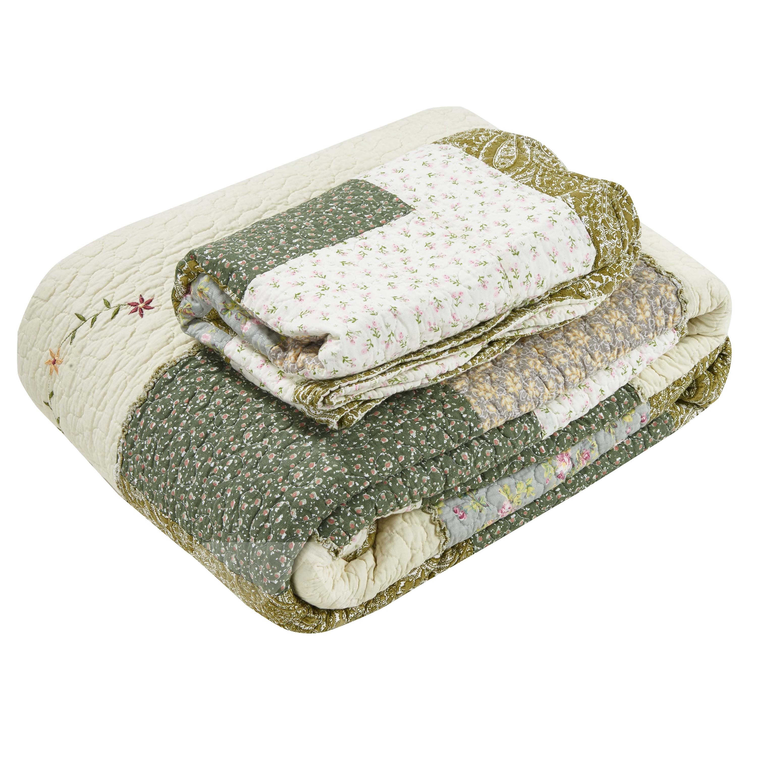 Little Floral Green King Size 3-Piece Cotton Bed in a Bag