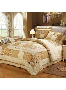 Elegant Pastoral Floral European Style Beige 3-Piece Bed in a Bag