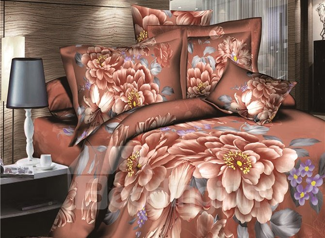 Retro Graceful Pretty Flower 3D Printed 4 Pieces Bedding Sets