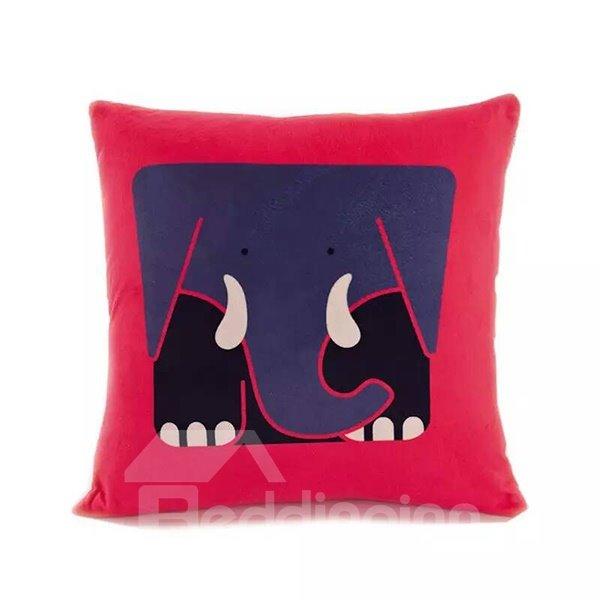 Cartoon Square Elephant Paint Throw Pillow Case