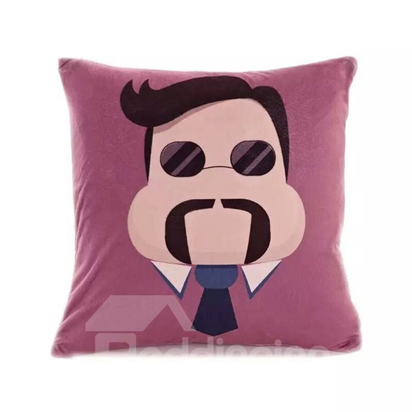 Cartoon Cool Man with Black Sunglasses Paint Throw Pillow Case