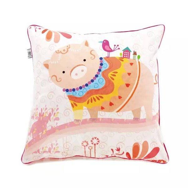 Cartoon Pink Pig Paint Throw Pillow Case