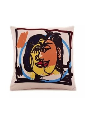 Abstract Two Face Paint Throw Pillow Case