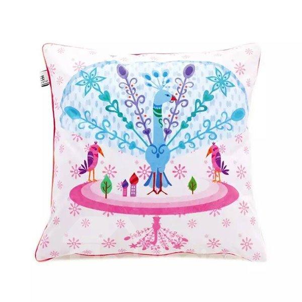 Colorful Peafowl Cartoon  Paint Throw Pillow Case