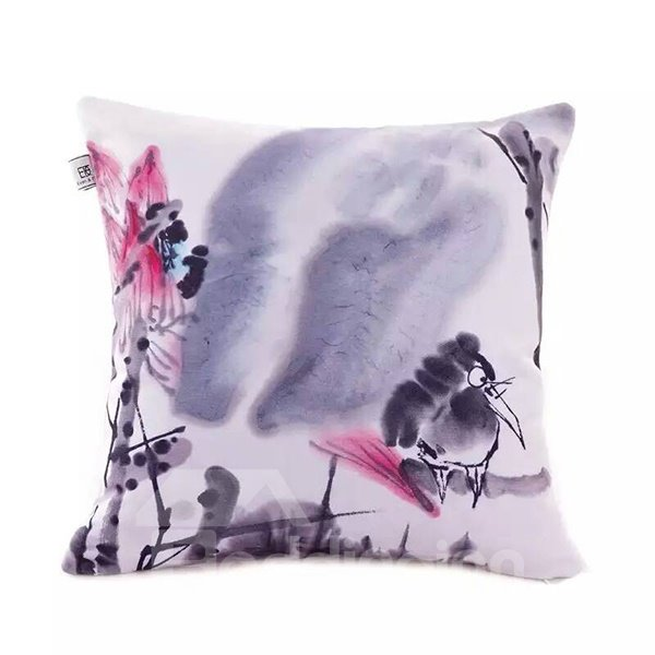 Chinese Ink Bird Paint Throw Pillow Case