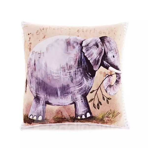 Cartoon Elephant Paint Throw Pillow Case