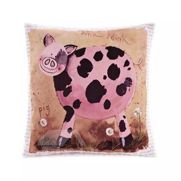 Cartoon Pig Paint Throw Pillow Case