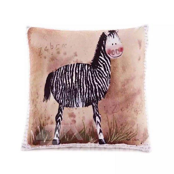 Cartoon Zebra Paint Throw Pillow Case