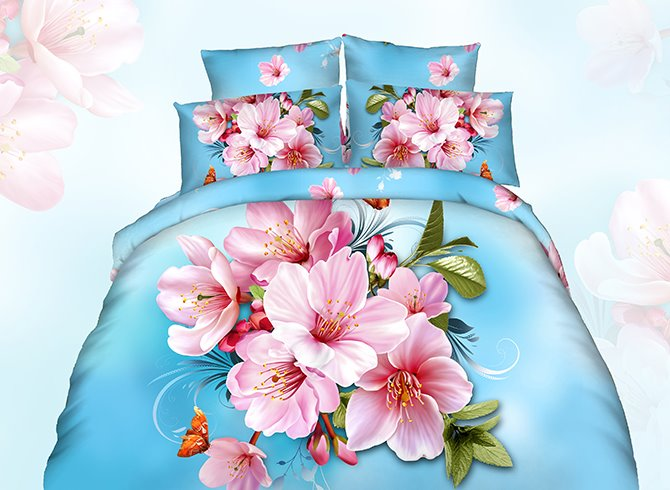 3D Pink Peach Blossom Printed Cotton 4-Piece Blue Bedding Sets/Duvet Cover 11673915
