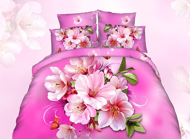 3D Pink Peach Blossom Printed Cotton 4-Piece Bedding Sets/Duvet Cover 11673916