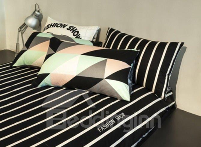 Modern Strip Black 4 Pieces Bedding Sets
