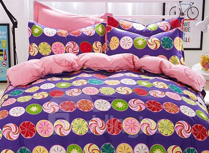 Cute Colorful Circular Design 4 Pieces Bedding Sets
