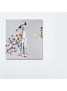Modern Creative Cute Dog in Field 1-Panel Wall Art Print