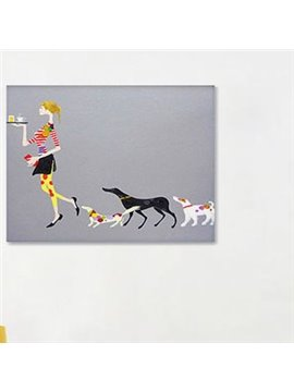 Modern Creative Leisure Woman and Dogs Wall Art Print