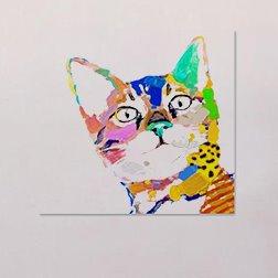 Modern Creative Simple Cat in Field 1-Panel Wall Art Print