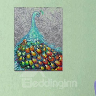 Beautiful Peacock in Field 1-Panel Wall Art Print