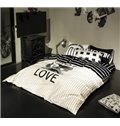 Modern Simple Letter Cotton 4 Pieces Bedding Sets