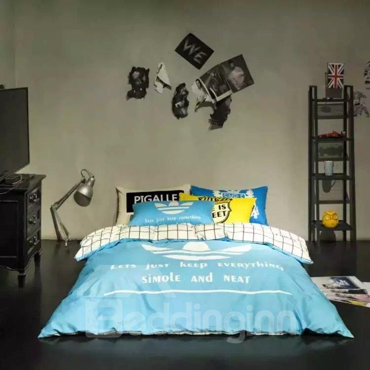 Simple Blue Letter Cotton 4 Pieces Bedding Sets