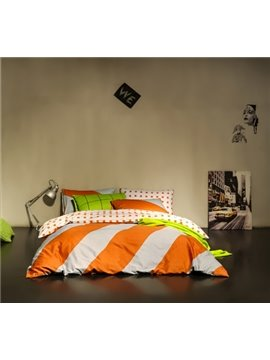 Fashion Colorful Stripe Cotton 4 Pieces Bedding Sets
