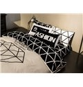 Simple Geometric Cotton 4 Pieces Bedding Sets