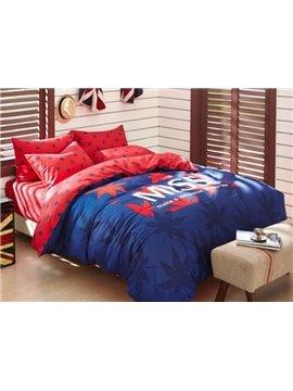 Romantic Red Maple Leaf 4 Pieces Bedding Sets
