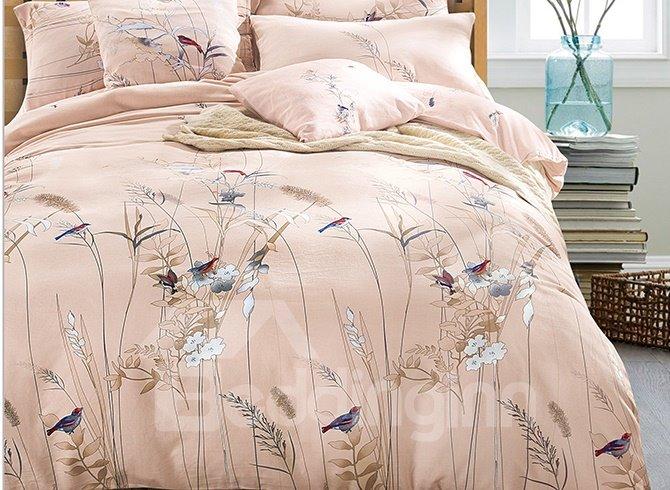 Pastoral Style Birds Flowers Silky Satin 4-Piece Duvet Cover Sets