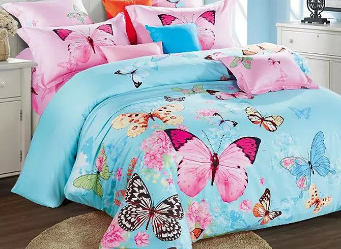 Colorful Flying Butterflies Printing Satin 4-Piece Blue Duvet Cover Sets beddinginn