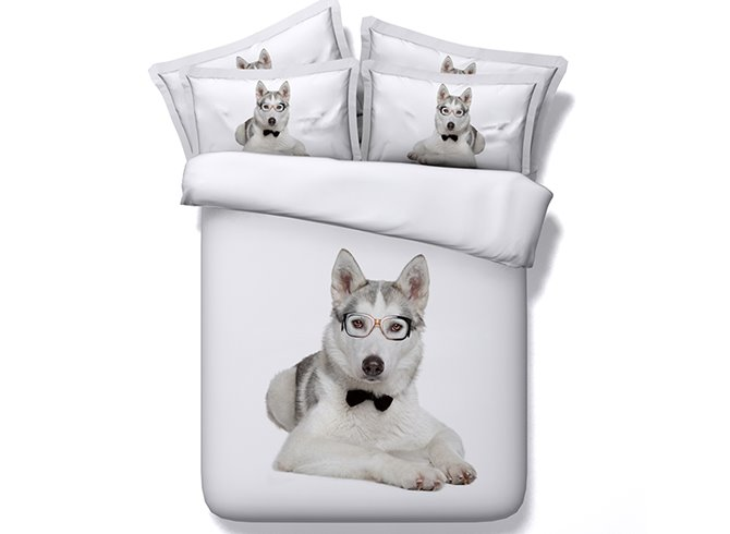 Lovely Puppy Doctor Digital Printing White 4-Piece Duvet Cover Sets