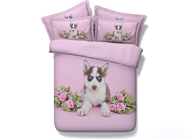Cute Husky Digital Printing Pink 4-Piece Duvet Cover Sets