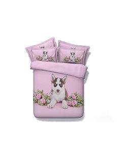 Cute Husky Digital Printing Pink 4-Piece Duvet Cover Sets