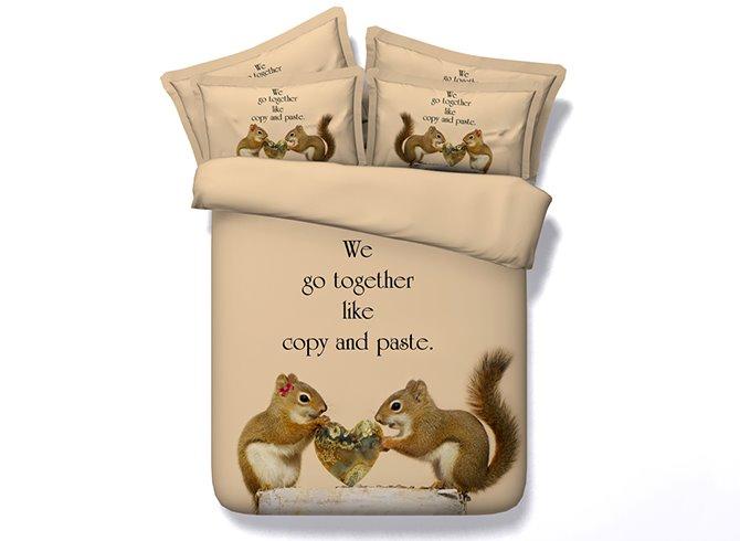 Squirrel Lovers Digital Printing Camel 4-Piece Duvet Cover Sets