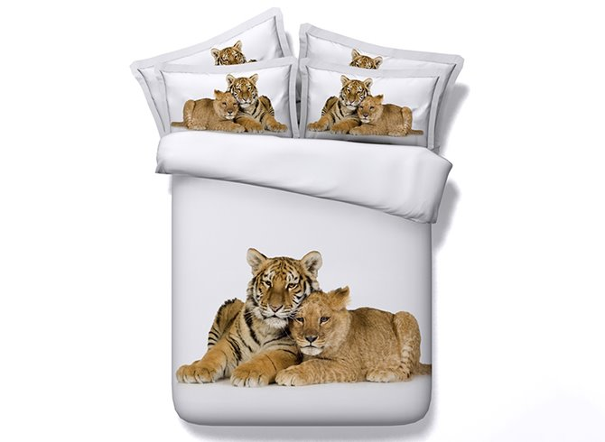 Snuggling Leopard and Tiger Digital Printing 4-Piece Duvet Cover Sets