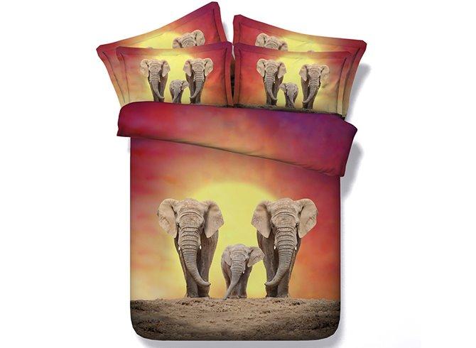 Warm Elephant Family Digital Printing 4-Piece Duvet Cover Sets