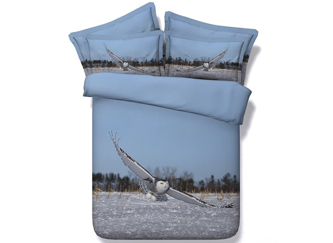 Flying Owl Digital Printing Blue 4-Piece Duvet Cover Sets