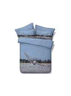 Flying Eagle Digital Printing Blue 4-Piece Duvet Cover Sets