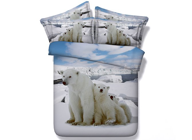 Adorable Polar Bears Digital Printing 4-Piece Duvet Cover Sets