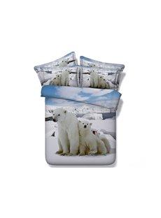 Adorable Polar Bears Digital Printing 4-Piece Duvet Cover Sets