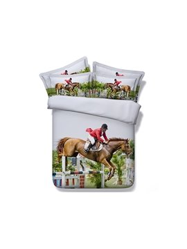 Horse Riding Digital Printing Machine Washable 4-Piece Duvet Cover Sets