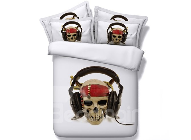 Abstract Skull Listening to Music Digital Printing 4-Piece White Duvet Cover Sets