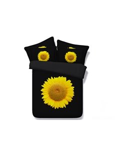 Bright Yellow Sunflower Digital Printing 4-Piece Black Duvet Cover Sets