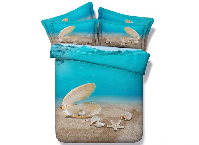 Shell Starfish and Sand Digital Printing 4-Piece Duvet Cover Sets