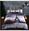 Magnificent Eiffel Tower and Vintage Car Digital Printing 4-Piece Duvet Cover Sets