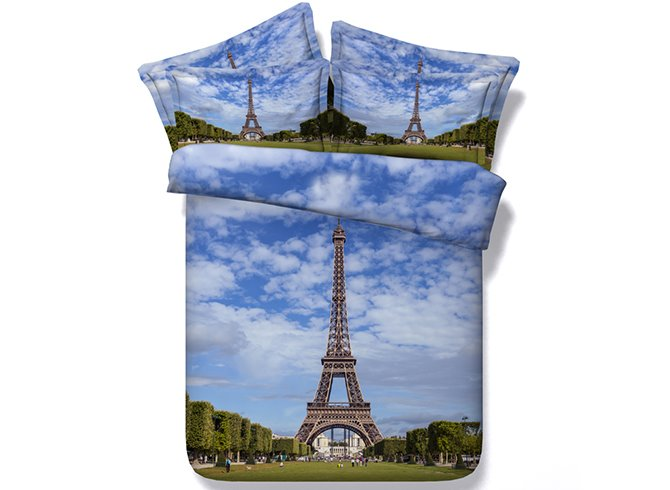 Imposing Eiffel Tower Printing 4-Piece Duvet Cover Sets