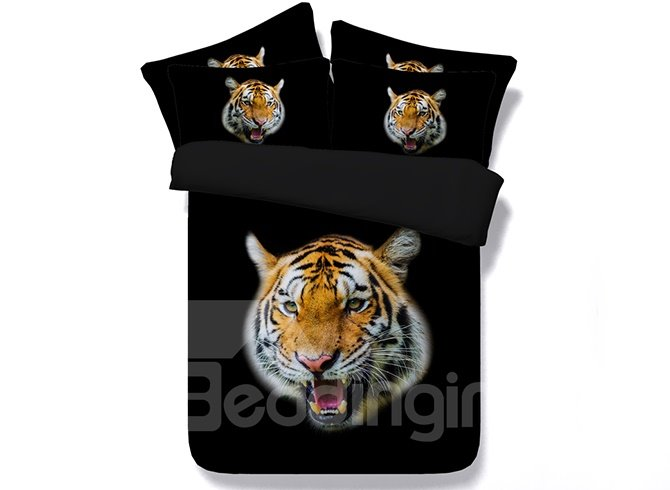 Fierce Powerful Tiger Head Printing 4-Piece Black Duvet Cover Sets