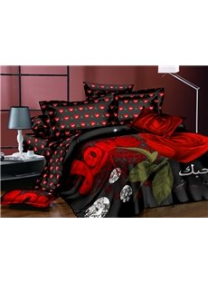 Red Roses and Shining Diamond Printing Polyester 4-Piece Duvet Cover Sets