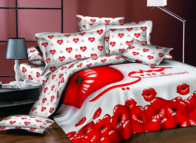Cuddly Red Lips Printing 4-Piece Polyester Duvet Cover Sets